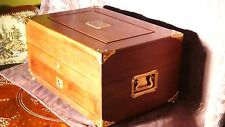 EARLY 20c CHINESE WALNUT WOOD STORAGE BOX WITH BRASS DECORATION & SILK LINEN