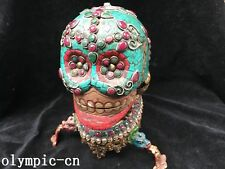 Tibet Nepal handicraft Bronze inlay Turquoise coral Gem Tibet Kapala skull cup