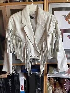 White Leather Jacket with Fringe Vintage Yucatan Bay
