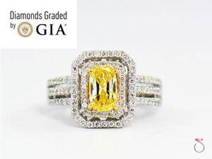 Natural Fancy Intense Yellow Diamond Ring, 1.02 ct. 18K White Gold 1.40 CTW. GIA