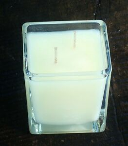 90hr UNSCENTED Double Wick 100% Pure Eco SOY SQUARE GLASS CANDLE & COTTON WICKS
