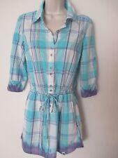 Roxy Ladies Blue White Checked Check Shirt Size XS UK 8 Utility Shirt Tie Waist