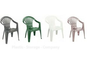 Plastic Garden Chairs Low Back Seat Patio Chair Partying Camping Picnic Stacking