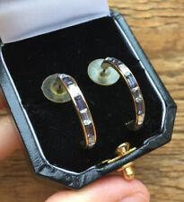 Rhinestone Hoop Earrings/Retro Look/Gold Tone Vintage Style Paste & Blue