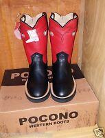 POCONO Black Red Leather Childrens Youth Western Kids Roper Cowboy Boots1576 NIB