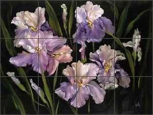Iris Tile Backsplash Cook Flower Floral Art Ceramic Mural Kitchen Shower CC005