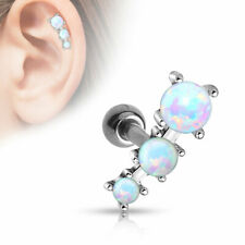 Coolbodyart Cartilage BAR Ear Surgical Steel Silver with Three Synth. Opals