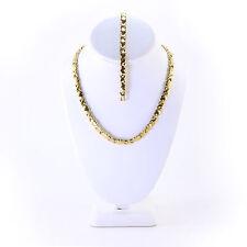 "Womens 18K Gold Tone Hugs and Kisses Necklace Bracelet 20"" XOXO 2 SETS"
