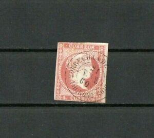 [C074] Spain 1/4/1855 Queen Isabella II 4Cs used.