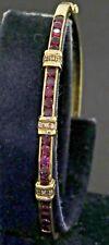 14K gold amazing elegant 1.49CTW diamond & ruby hinged bangle bracelet