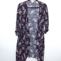 LuLaRoe Womens Shirley Kimono Black Pink Floral Print Size Large L Cover Up