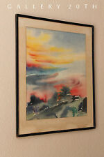 MID CENTURY ABSTRACT WATERCOLOR PAINTING! Modern Art Eames Vtg Atomic Interiors