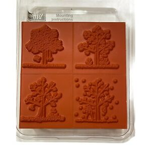 Stampin Up! A TREE FOR ALL SEASONS Wood mount Rubber Stamp set of 4 Retired 2000