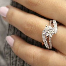 Jewelry 925 Silver White Topaz Wedding Women Proposal Couple Ring Size 5-10