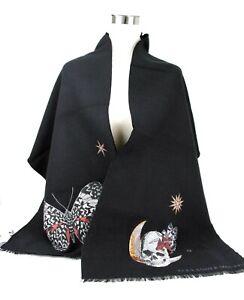 Alexander McQueen Black Wool/Silk Moonlight Fairy Skull Scarf 524566 1078