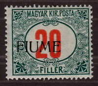 1918 Fiume Italy, Hungarian Postage-Due Stamps Handstamped, 20 f, MH, Mi P11