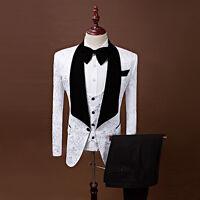 White Floral Groom Tuxedos Best Man Peak Black Lapel Groomsmen Men Wedding Suits