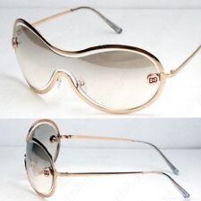DG Shield Mens Womens Designer Sunglasses Shades Vintage Clear Gold Fashion