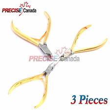 "3Pc 4"" Professional Cuticle Nippers Acrylic Nail Clippers Gold Plated"