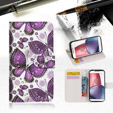 Purple Butterfly Wallet TPU Case Cover For Motorola Moto C -- A017