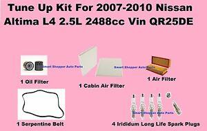Tune Up Kit For 2007-2010 Nissan Altima Spark Plug, Oil, Air, Cabin Filter, Belt