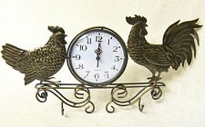 NEW CHARMING COUNTRY METAL ROOSTER HEN BRONZE TONE BATTERY WALL CLOCK W/ HOOKS