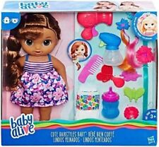 Baby Alive Cute Hairstyles Brunette Doll Drink Wets Bottle Diapers Extras