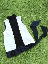 Zara Seiden camisa cuello manadrin seda satén Black White transparente XS S 34 36