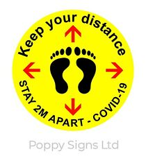 2m safe distance floor stickers, Pack of 10, 10cm. (Other sizes available)