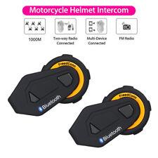 2X FreedConn T-Max 1000m Bluetooth Intercom Motorcycle Helmet Headset For Riders