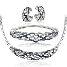 3/4 Ct Blue & White Diamond Weave Necklace, Bracelet, Earrings Set