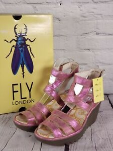 FLY London Leather Ankle Strap Wedges - Yebe - Metallic Pink - EU 38 US 7-7.5