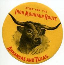 Iron Mountain Route ~ARKANSAS and TEXAS RAILROAD~ Rare Luggage Label, c. 1895