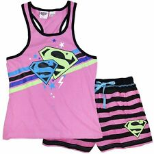 Girls size 10  PINK  SUPERGIRL summer pyjamas pjs Super Girl NEW