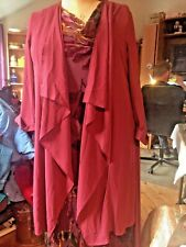 YOURS Wine Long Waterfall Duster, UK 24 New with tags.