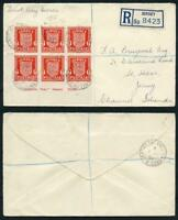 SG Spec JW22 Jersey 1d Scarlet (Arms) Block of 6 with Imprint on Reg FDC Cover
