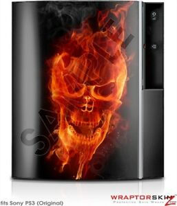 Sony PS3 Skin Flaming Fire Skull Orange