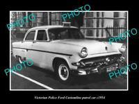 OLD 8x6 HISTORIC AUSTRALIAN PHOTO OF VICTORIAN POLICE FORD CUSTOMLINE CAR 1954