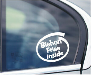BISHON FRISE INSIDE DOG PUP ON BOARD CAR WINDOW STICKER IN WHITE ALL COLOURS