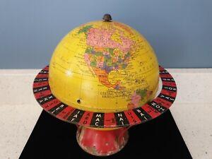 Rare Antique Vintage 1940s Replogle World Globe Tin Metal Grams Game Toy Kids US