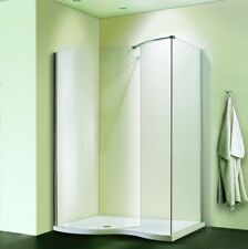 1500x900mm Walk In Shower Enclosure Curved Glass Screen Side Panel Stone  Tray V7