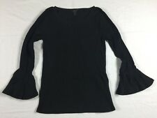 NWT J. Crew XL Extra Large Ribbed Long Bell Sleeve Top Blouse in Black