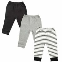 Luvable Friends Boy Baby Tapered Ankle Pants, 3-Pack, Black Stripes