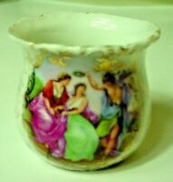 Antique Porcelain Toothpick Holder With Classical Scene By A. Kaufmann