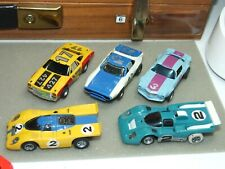 Five Aurora Afx Ho Slot Cars & Two Bodies