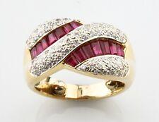 18K Yellow Gold Baguette Cut Ruby & Diamond Twist Ring TCW = 1.65 ct Size 3.5