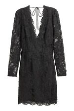 NWT - Black V-Neck H&M Sheath Lace Dress, Size 12
