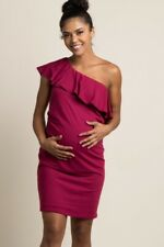 Pink Blush Maternity Burgundy Red Solid One-Shoulder Dress Size S Small
