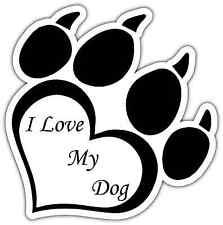 "I Love My Dog Paw Print Pet Car Bumper Vinyl Sticker Decal 4""X5"""