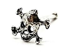 Nose Stud Skull Crossbones 22g (0.6mm) 925 Silver Ball End Post Rebel Pirate